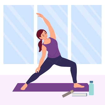 Hand gezeichnete frau, die yoga tut