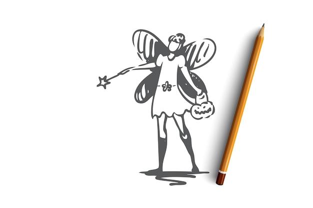 Hand gezeichnete frau im kostüm der schmetterlingskonzeptskizze