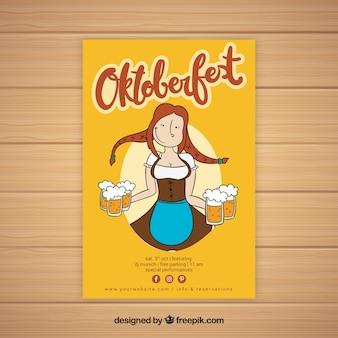 Hand gezeichnete frau mit bieren