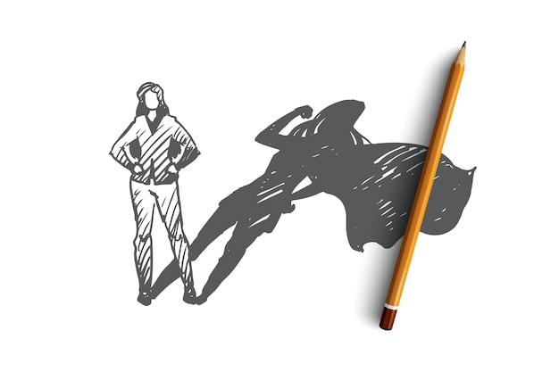 Hand gezeichnete frau mit hohem potential und versteckter talentkonzeptskizze