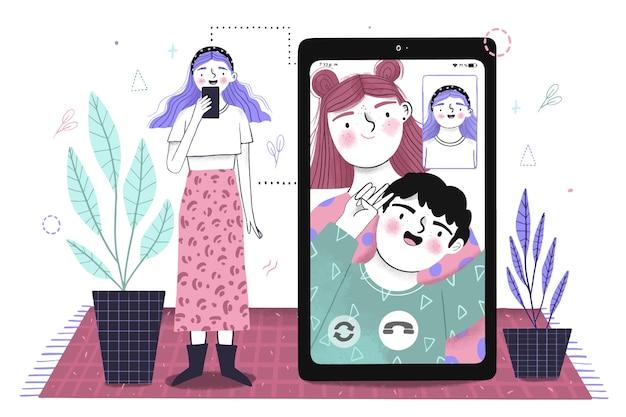 Hand gezeichnete freunde videoanruf auf smartphone-illustration