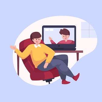 Hand gezeichnete freunde videokonferenzen