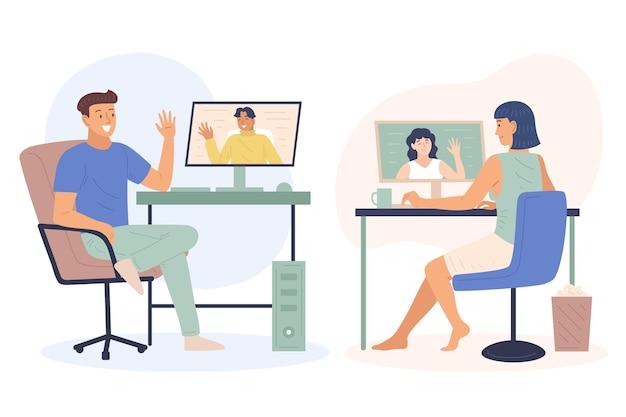 Hand gezeichnete freunde videokonferenzszene