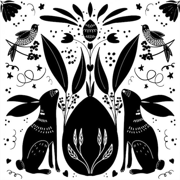 Hand gezeichnete fröhliche ostern-illustration