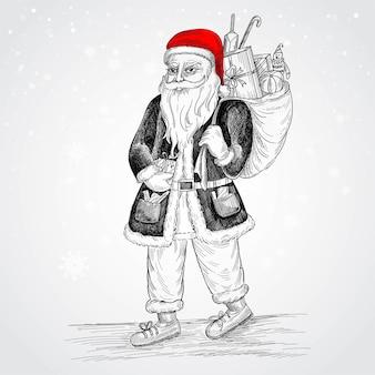 Hand gezeichnete fröhliche weihnachtsmann-skizzen-karte