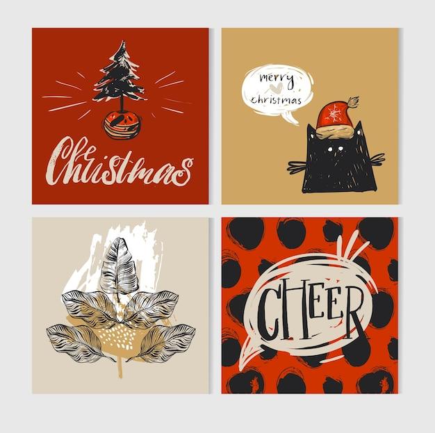 Hand gezeichnete frohe weihnachten grußkartensatz