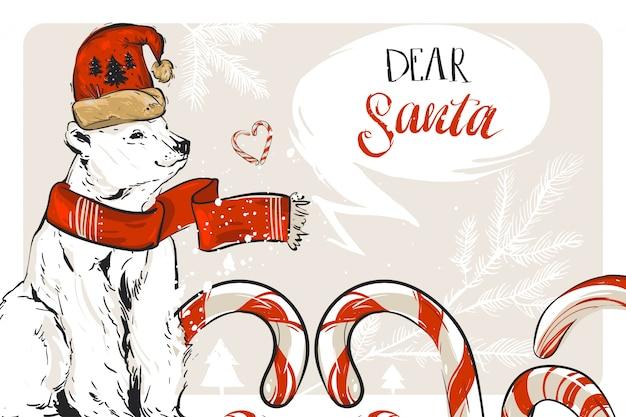 Hand gezeichnete frohe weihnachten speichern die datumsgrußdekorationskarte mit zuckerstangen und nordpolbär auf pastellhintergrund. journaling, geburtstag, hochzeitskonzept. ungewöhnliche karte