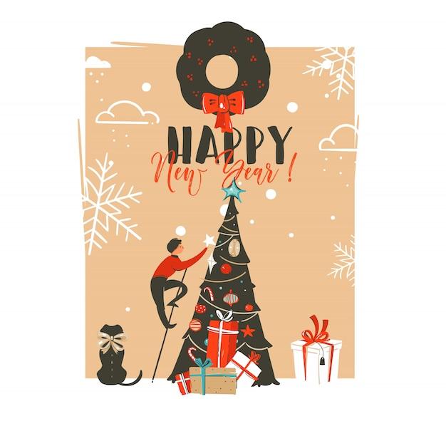Hand gezeichnete frohe weihnachten und ein glückliches neues jahr weinlese-waschbärillustrations-grußkartenschablone mit familienleuten und verziertem weihnachtsbaum des haustierhundes auf weißem hintergrund