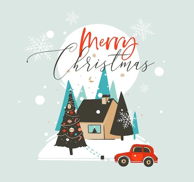 Hand gezeichnete frohe weihnachten und glückliche neujahrszeit-waschbärillustrationsgrußkartenschablone mit außenlandschaft, haus und schneefall auf blauem hintergrund