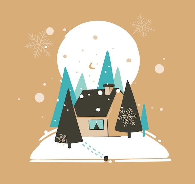 Hand gezeichnete frohe weihnachten und glückliche neujahrszeit-waschbärillustrationsgrußkartenschablone mit außenlandschaft, haus und schneefall auf braunem hintergrund