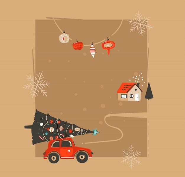 Hand gezeichnete frohe weihnachten und glückliches neues jahr weinlese-waschbärillustrations-grußkartenschablone mit auto und verziertem weihnachtsbaum auf bastelpapierhintergrund