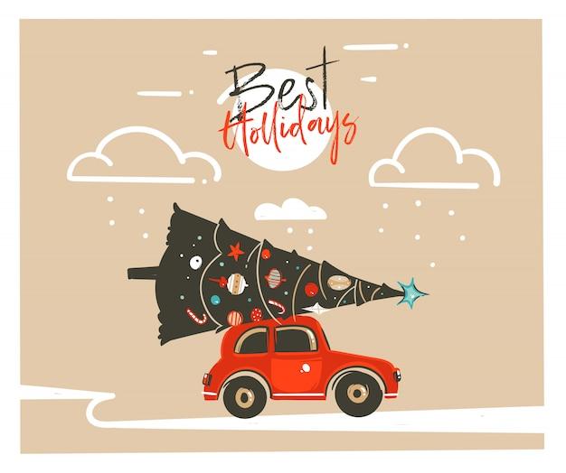 Hand gezeichnete frohe weihnachten zeit waschbär illustration überschrift karte vorlage mit rotem auto, weihnachtsbaum und moderne typografie besten feiertage auf bastelpapier hintergrund