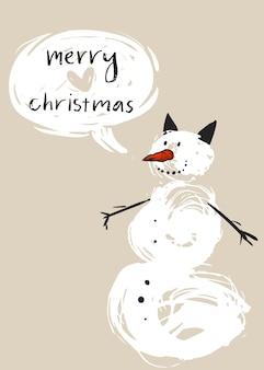 Hand gezeichnete frohe weihnachtsgrußkartenschablone mit niedlichem weißen schneemanncharakter und moderne kalligraphiephase frohe weihnachten.
