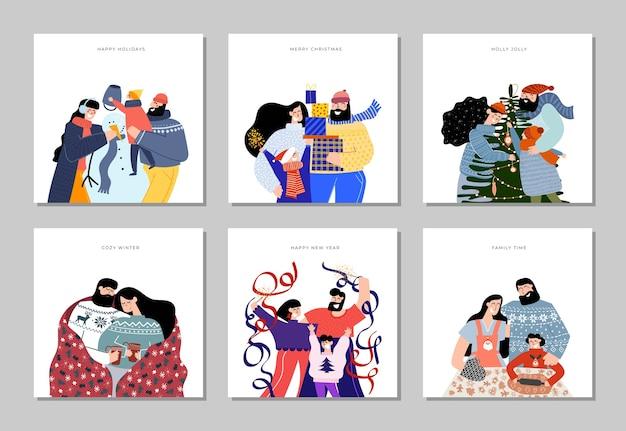 Hand gezeichnete frohe weihnachtszeit und neujahrskartensammlung mit niedlichen illustrationen glückliche familie, die kekse backt, die weihnachtsbaum mit geschenken mama papa babyparty zusammen zusammen schneemann verzieren