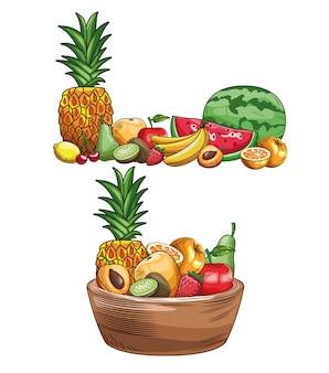 Hand gezeichnete früchte