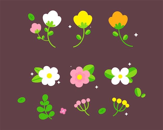 Hand gezeichnete frühlingsblume, blumenkarikaturkunstillustration
