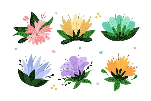 Hand gezeichnete frühlingsblumensammlung lokalisiert auf weißem hintergrund
