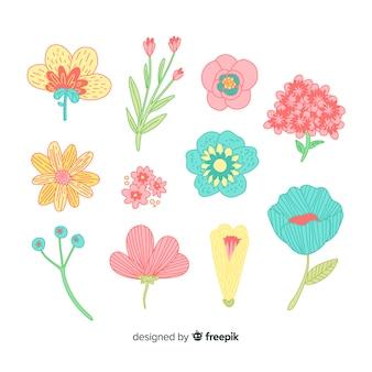 Hand gezeichnete frühlingsblumensammlung