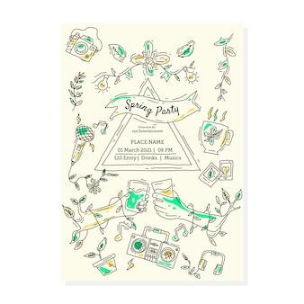 Hand gezeichnete frühlingsfliegerschablone mit bunten elementen