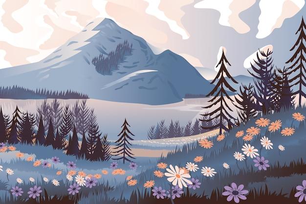 Hand gezeichnete frühlingslandschaft mit bäumen und berg