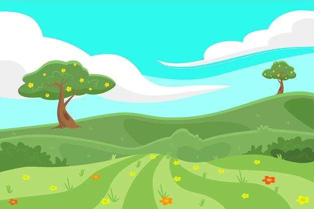 Hand gezeichnete frühlingslandschaft mit bäumen