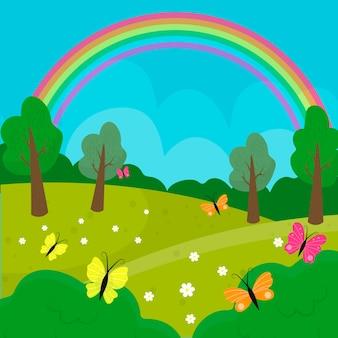 Hand gezeichnete frühlingslandschaft mit regenbogen und natur