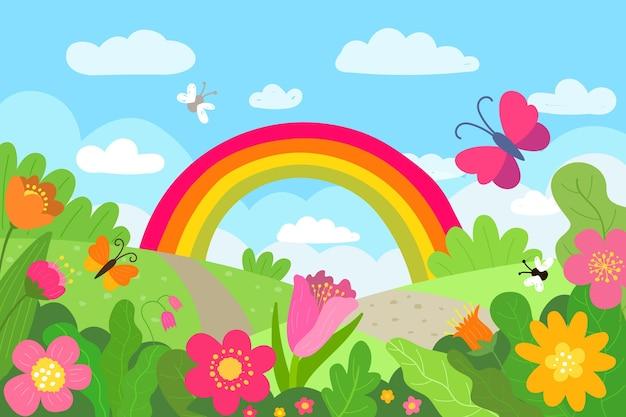 Hand gezeichnete frühlingslandschaft mit regenbogen