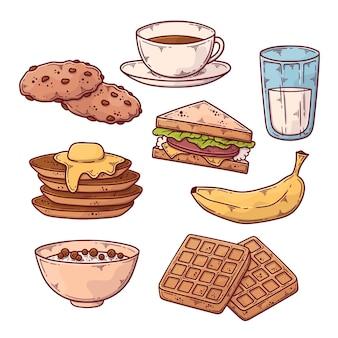 Hand gezeichnete frühstücksnahrungsmittelsammlung