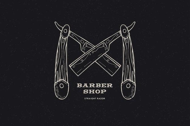 Hand gezeichnete gekreuzte rasiermesser. weinleseetikett, hand gezeichnet auf dem thema friseurladen und rasieren.