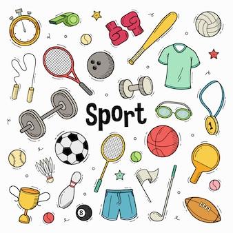 Hand gezeichnete gekritzel-sportkollektion mit färbung