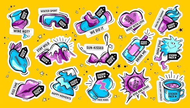 Hand gezeichnete gekritzelaufkleberpackung mit phrasen