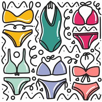 Hand gezeichnete gekritzelfrau-bikinikunstdesignelementillustration.