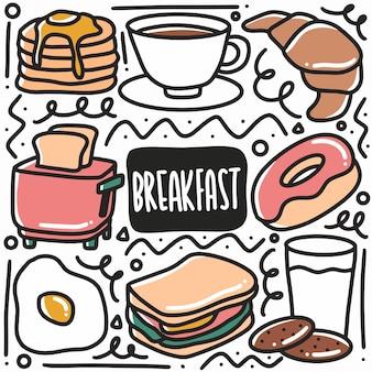 Hand gezeichnete gekritzelfrühstücksnahrungskunst-designelementelementillustration.