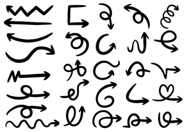 Hand gezeichnete gekritzelgestaltungselemente. übergeben sie gezogene pfeile, rahmen, grenzen, ikonen und symbole. cartoon-stil infografiken elemente.