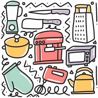 Hand gezeichnete gekritzelkücheneigenschaft mit ikonen und gestaltungselementen