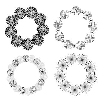 Hand gezeichnete gekritzelrahmen. vektor dekorative elemente. runder hintergrundsatz des kreises. skizzierte dekorationen