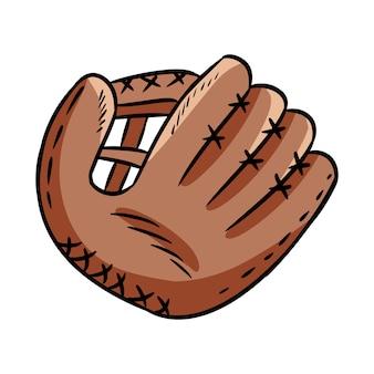 Hand gezeichnete gekritzelskizze des baseballhandschuhs
