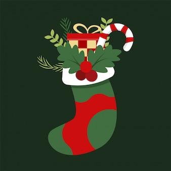 Hand gezeichnete gekritzelsocke weihnachten