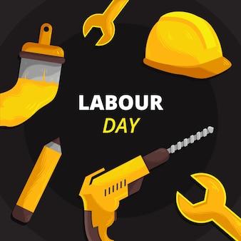 Hand gezeichnete gelbe werkzeuge des arbeitstages