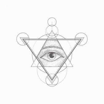 Hand gezeichnete geometrische form des weinleseauges