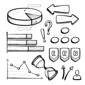Hand gezeichnete geschäft infographic elemente
