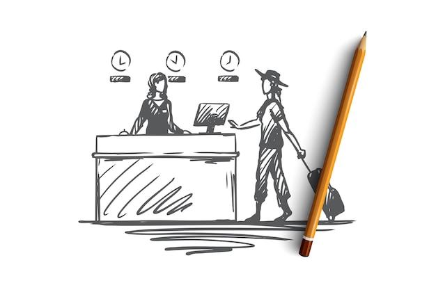 Hand gezeichnete geschäftsfrau mit gepäck an der flughafenregistrierungskonzeptskizze