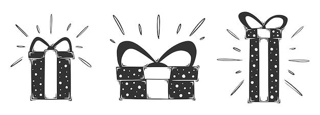 Hand gezeichnete geschenkbox-sammlung