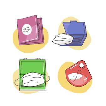 Hand gezeichnete gesichtsmasken-aufbewahrungskoffer-sammlung