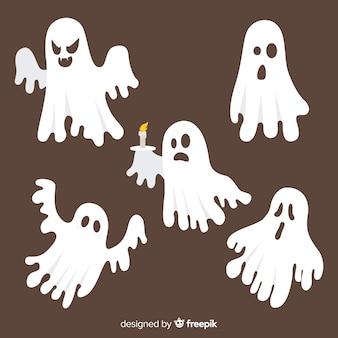 Hand gezeichnete gespenstische geistersammlung halloweens