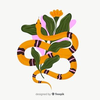 Hand gezeichnete gestreifte schlange mit blumenhintergrund
