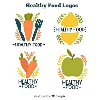 Hand gezeichnete gesunde lebensmittellogos