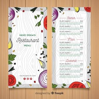 Hand gezeichnete gesunde Lebensmittelrestaurant-Menüschablone