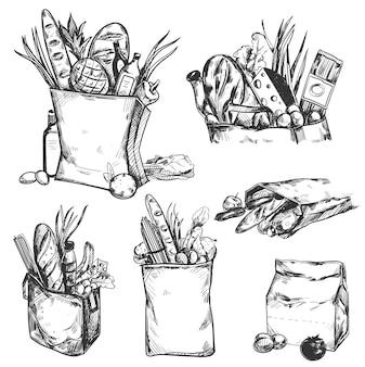 Hand gezeichnete gesundheitsprodukt-symbolsatz