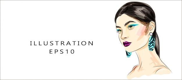 Hand gezeichnete glamour junge frau gesicht make-up mit schönen augen illustration